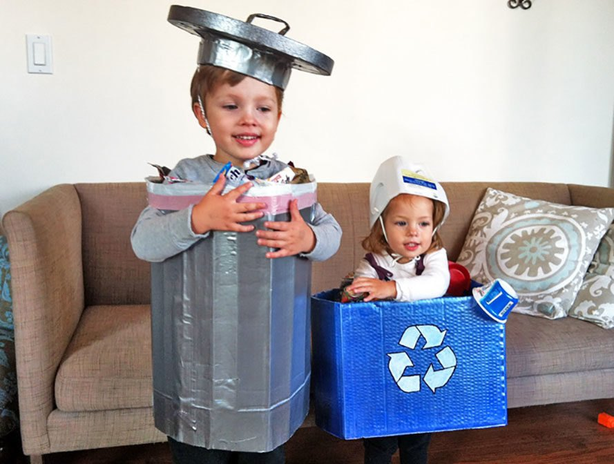 Trashcan and Recycling Bin Halloween Costume, recycled halloween costume