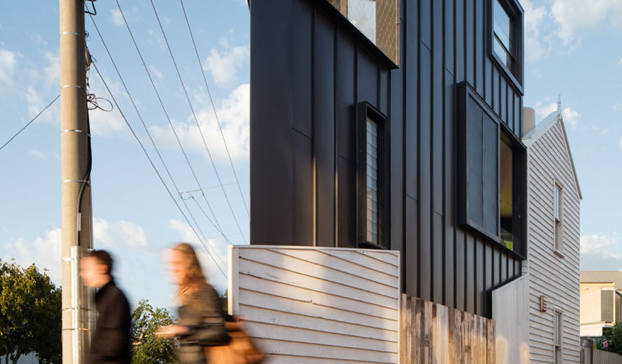 Acute House, Oof! Architecture, green renovation, Victorian cottage, Melbourne, reused building materials, Victorian weatherboard, open spaces, balcony, hanging plants, solar panels, solar hot water, water-efficient toilet, energy efficient appliances