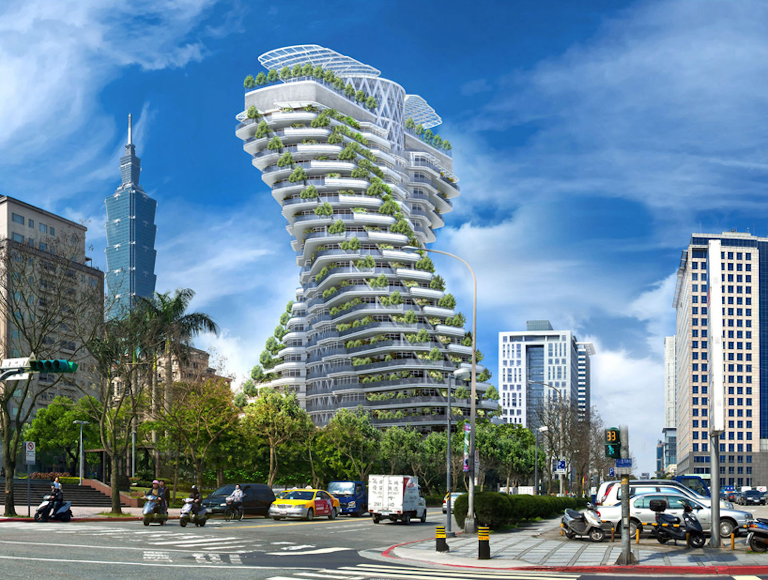 Vincent Callebaut's twisting carbon-absorbing skyscraper nears completion in Taipei