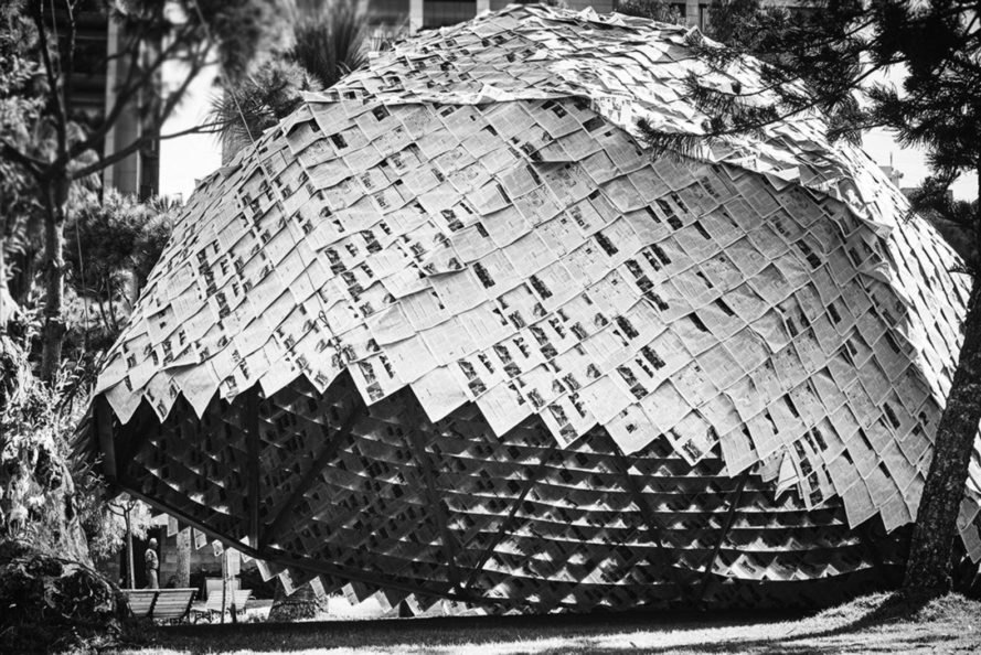 Atelier YokYok, Ulysse Lacoste, Recycled newspaper dome, Paper Dome, Beirut, local waste art, public art,