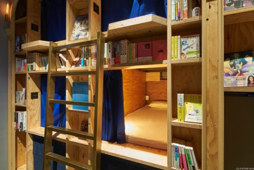 Book and Bed, book and bed hotel, book and bed hotel tokyo, book hotel kyoto, R-STORE, japan book stores, literally hotels, japanese design, library design, book store design, literary designs, book store hotels, book shelves,