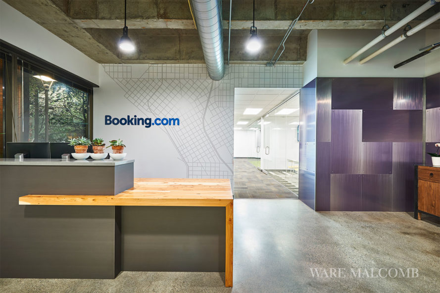 ware malcomb, booking.com, 200 west mercer street, seattle offices, cool offices, green design, eco design, sustainable design, interior design, office design, recycled materials, booking.com office