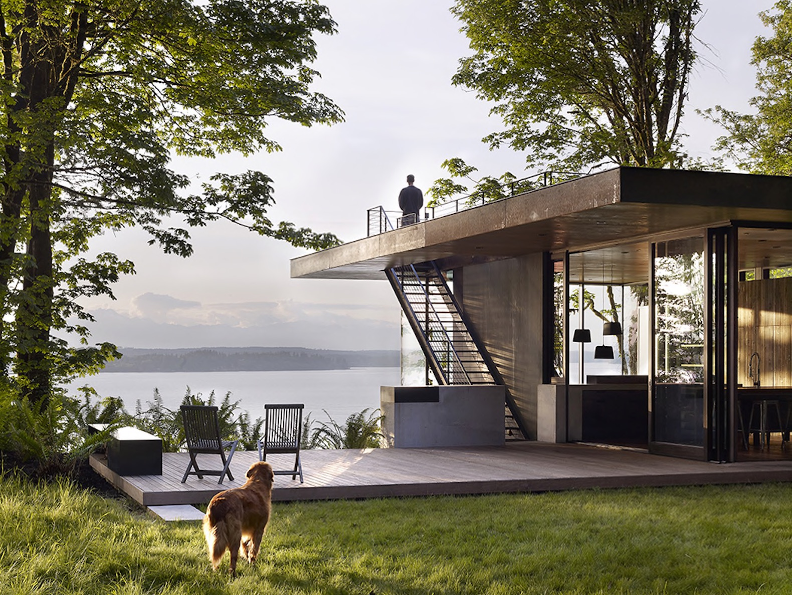 Modern low-maintenance cabin is a seamless extension of the Puget Sound landscape