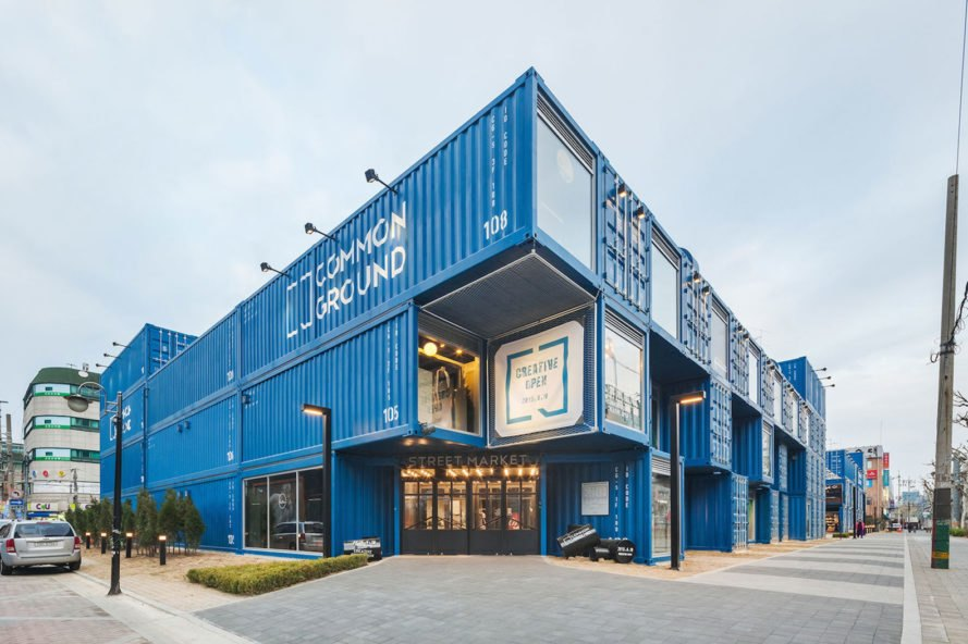 Common Ground by Urbantainer, shipping container mall, cargotecture mall, cargotecture in Korea, shipping container architecture in Korea, modular architecture in Korea, Common Ground architecture in Korea,