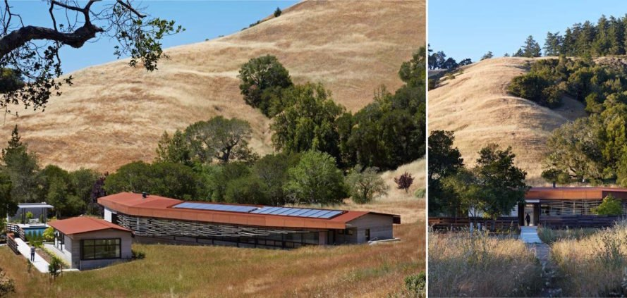 Crook Cup Bow Twist House by Schwartz and Architecture, eucalyptus solar screen, Nicasio architecture, Marin County Green Building standard house, contemporary California countryside home, Crook Cup Bow Twist House