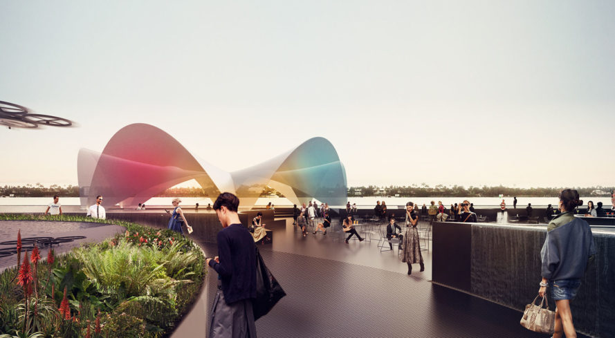 Carlo Ratti Associati, Currie Park waterfront, West Palm Beach, floating plaza, floating architecture, hydroponics, auditorium, water plaza, retail spaces, public spaces, green architecture