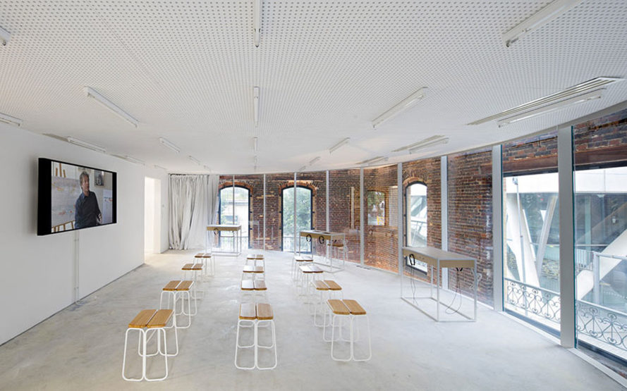 Director's House, Paris, renovated factory, urban project, Semapa, multipurpose space, DATA architects, transformable interior, transformable space, green interior, glass, steel, exhibition spaces