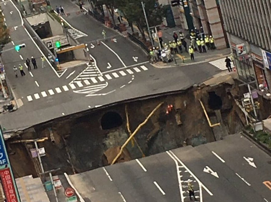japan, fukuoka, sinkhole, subway, subway system, construction project, urban sinkhole, city streets