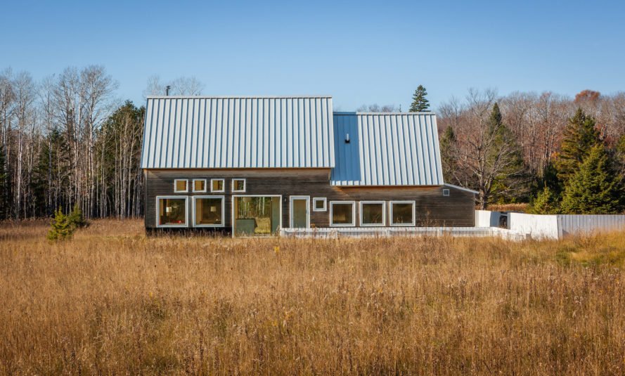 House for Beth by Salmela Architect, Door County contemporary house, house with IKEA furnishings, Wisconsin contemporary architecture, barn-inspired architecture, standing seam metal roof,