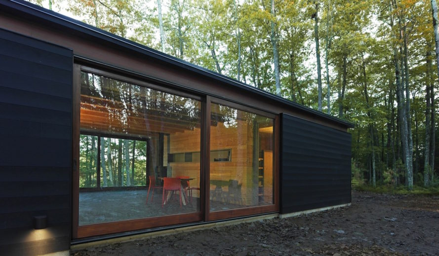 Linear Cabin by Johnsen Schmaling Architects, Wisconsin cabin architecture, contemporary cabin, St. Germain cabin, blackened pine cabin, knotty pine cabin interior