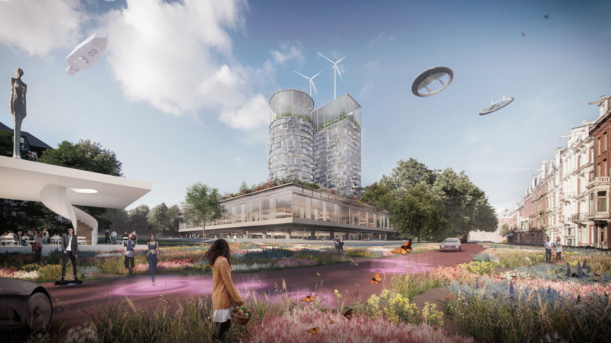 green masterplan, Amsterdam, Oamsterdam, HofmanDujardin, green architecture, food market, urban farming, repurposed building, urban park, waterfront, drones