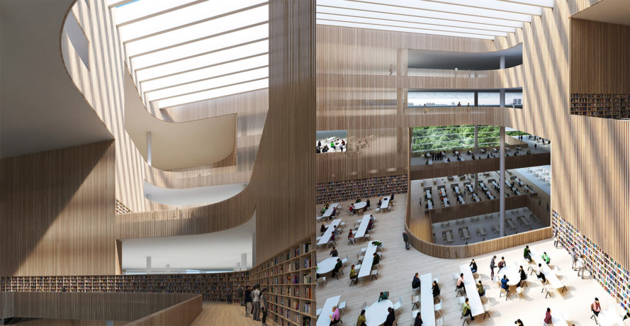Shanghai Library by Schmidt Hammer Lassen Architects, library architecture in Schmidt Hammer Lassen Architects, Shanghai library completion date, shanghai library, shanghai library in pudong, shanghai library competition