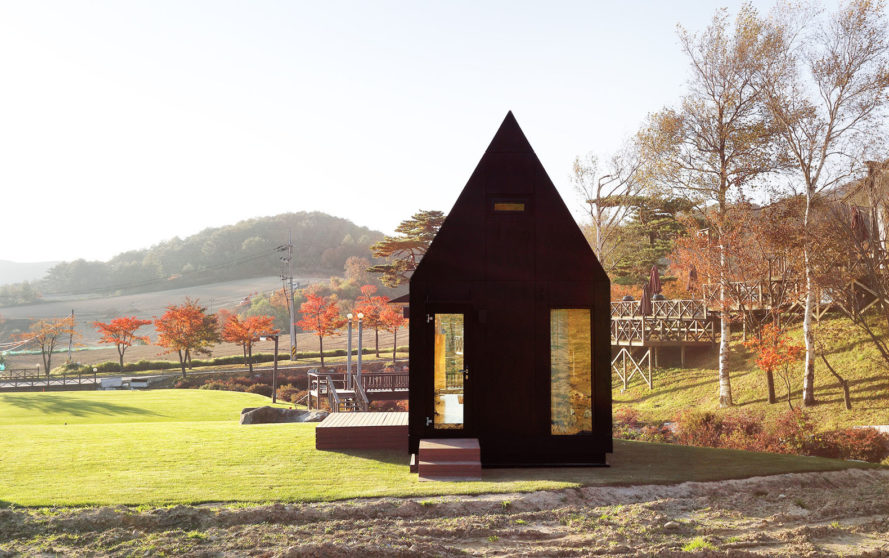 Tiny House of Slow Town, 2018 Olympic Winter Games, The Plus Partners, DNC Architects, tiny house, South Korea, Olympics, eco-friendly materials, staircase, green architecture