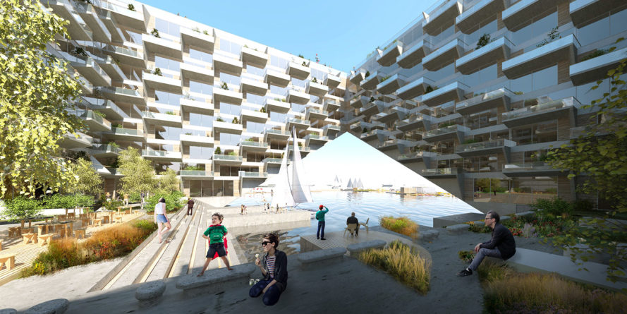 Sluishuis, Sluishuis by BIG and Barcode Architects, BIG, Bjarke Ingels, Bjarke Ingels Group, Barcode Architects, sustainable building, green building, mixed-use, mixed-use building, zero energy, zero energy homes, zero energy apartments, houseboats, living on the water, water, IJ Lake, Amsterdam
