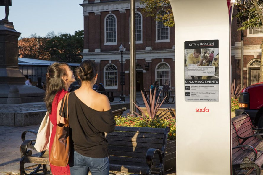 Soofa Sign, Soofa Bench, Soofa, Visionect, urban furniture, Boston, solar power, green urban furniture, e-paper, smart city, green design, small environmental footprint