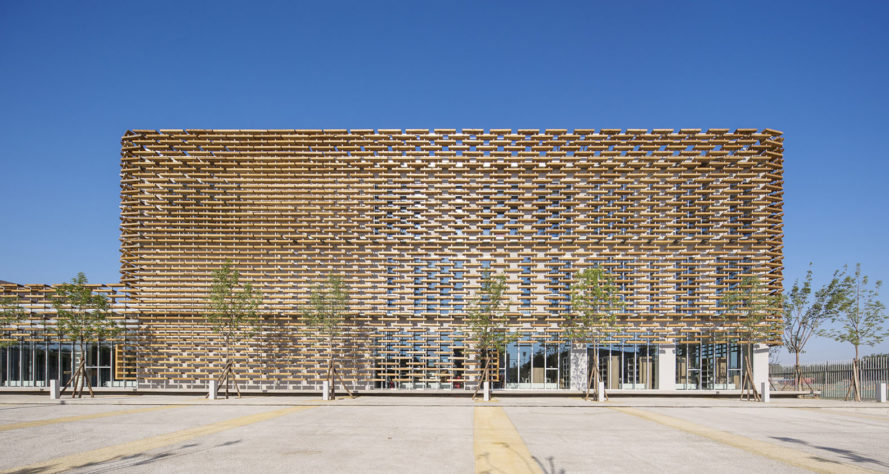 The French school, Beijing, Jacques Ferrier Architecture, lattice, walkway, natural light, courtyard, green architecture, common spaces, China