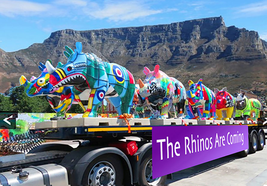 rhino poaching, The Grand Rhino Launch Tour, rhino sculptures cape town, cape town rhinos, CowParade, the rhinos are coming thundafund, TRAC, rhino conservation art project, art project to save rhinos, colorful rhino sculptures, life-sized rhino sculptures, Janice Ashby South Africa