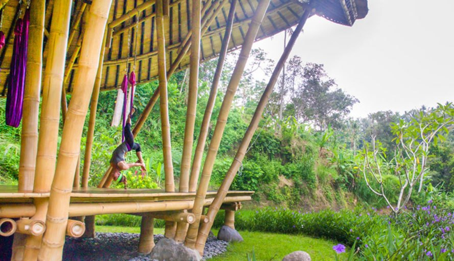 Yoga Pavilion at Four Seasons Resort, Ibuku, bamboo structure, green pavilion, Bali, flexible structure, flexible design, green architecture, lightweight, bamboo, Indonesia, traditional building technique