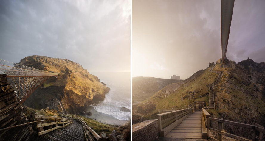 Tintagel Castle Footbridge, Tintagel Castle Footbridge by Ney & Partners and William Matthews Associates, Ney & Partners, William Matthews Associates, Tintagel, Tintagel Footbridge, Tintagel Castle, Cornwall, England, King Arthur, history, symbolism, bridge, footbridge, cantilevers