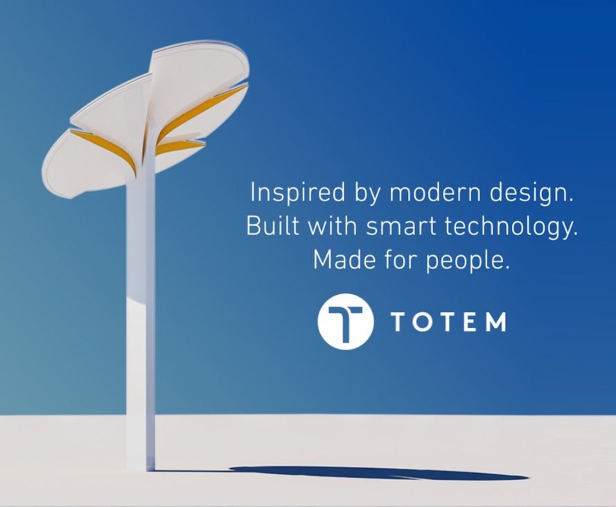 Totem, Totem for smart cities, Totem lamp, Totem Power sustainable, solar-powered street lamp, solar-powered street lights, street lamp integrated with EV charging, EV charging street furniture