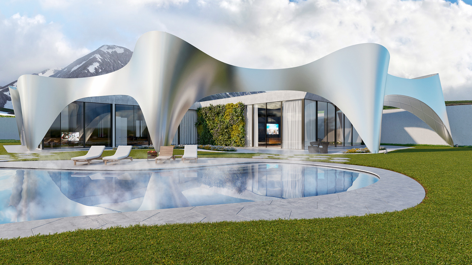 Beautiful Villa In Alps Mimics The Mountains With Glimmering Arches That Provide  Strategically Shifting Shade