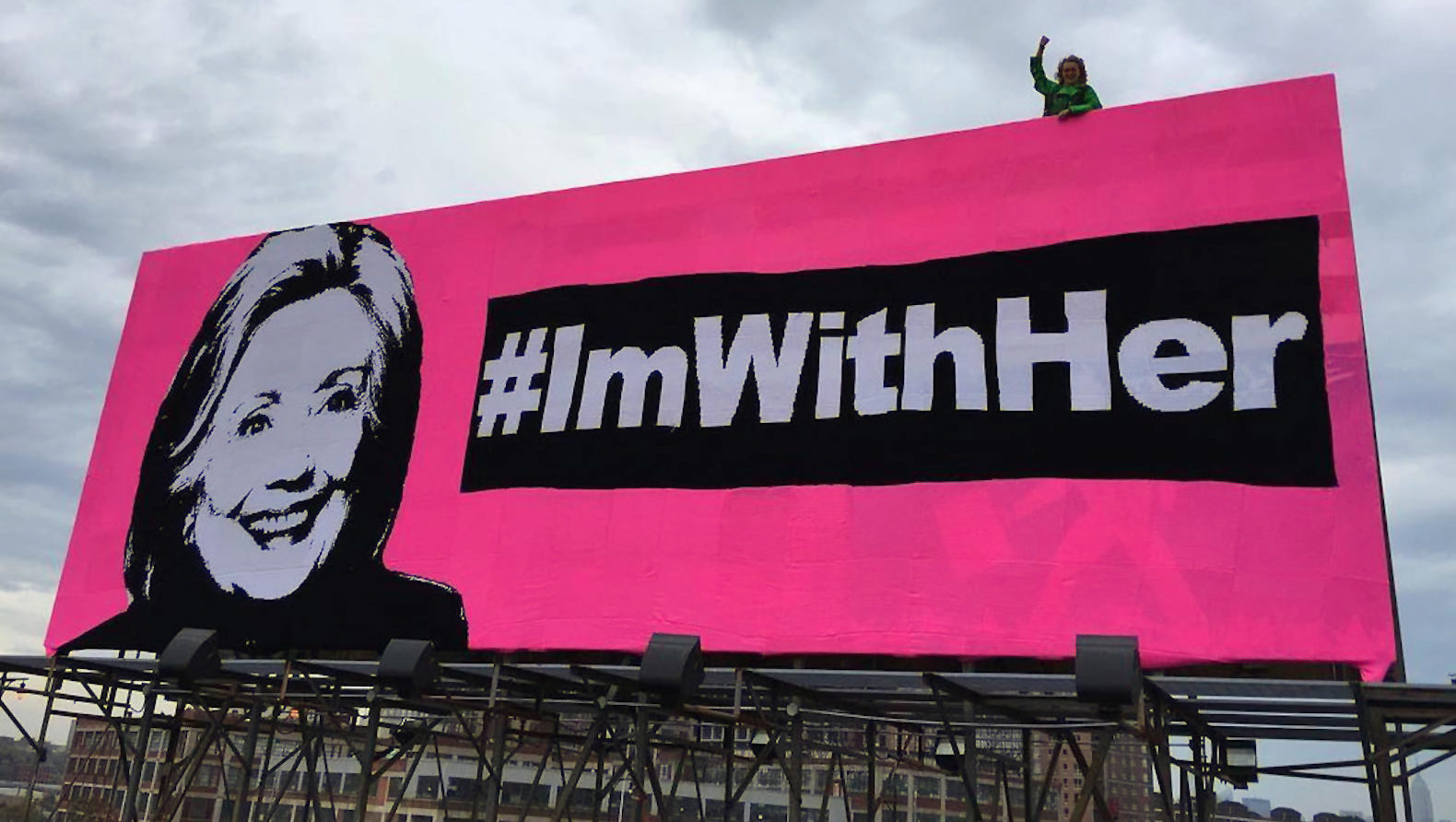 hillary clinton, 2016 presidential election, united states election, 2016 presidential race, #imwithher, olek, crochet, fiber art, crochet mural, crochet blanket, billboard, political art, art installation