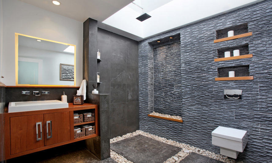 Slate bathroom, slate shower