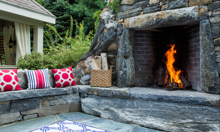 Stone fireplace, outdoor fireplace, outdoor firepit