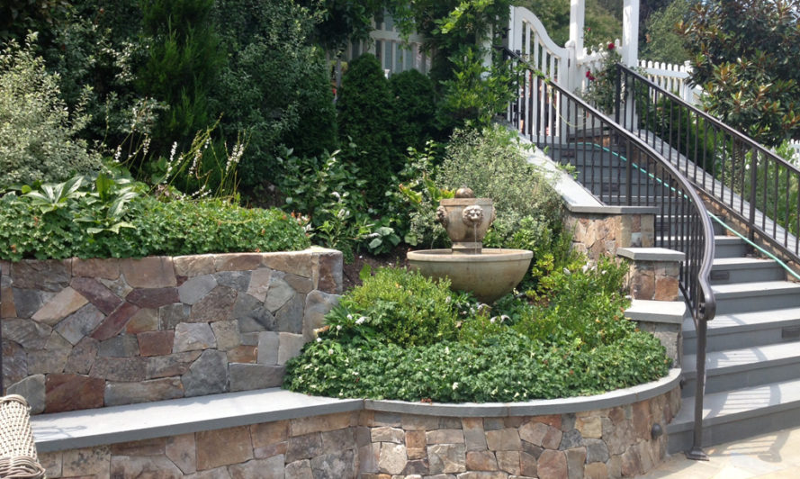 Stone landscaping, stone planter
