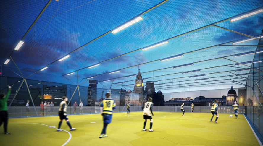 al_a, arup laboratories, pitch/pitch, football field, uk football, stackable football field, london design, london architecture, modular design, modular football field