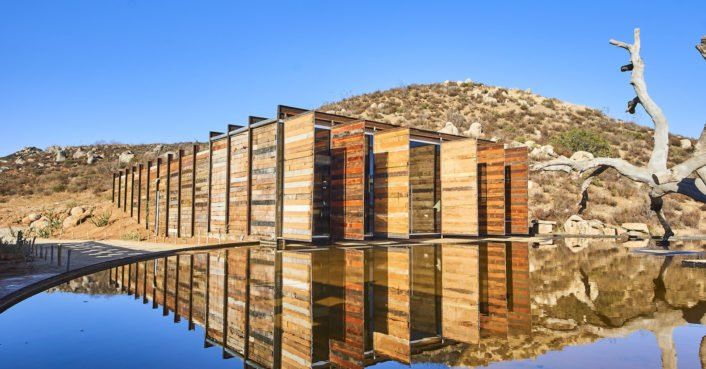 Mexican winery built from recycled wood and rammed earth for Salvaged building materials los angeles