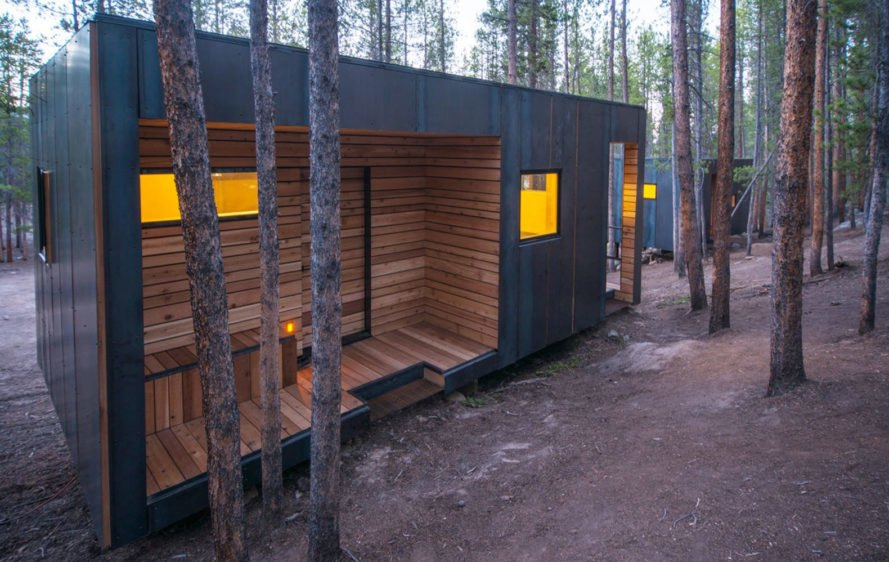 COBS Year-Round Micro Cabins, Colorado Building Workshop, University of Colorado Denver, micro-cabins, Colorado, green cabins, hot rolled steel, low-maintenance building, concrete, green architecture, rainscreens, insulation, plywood