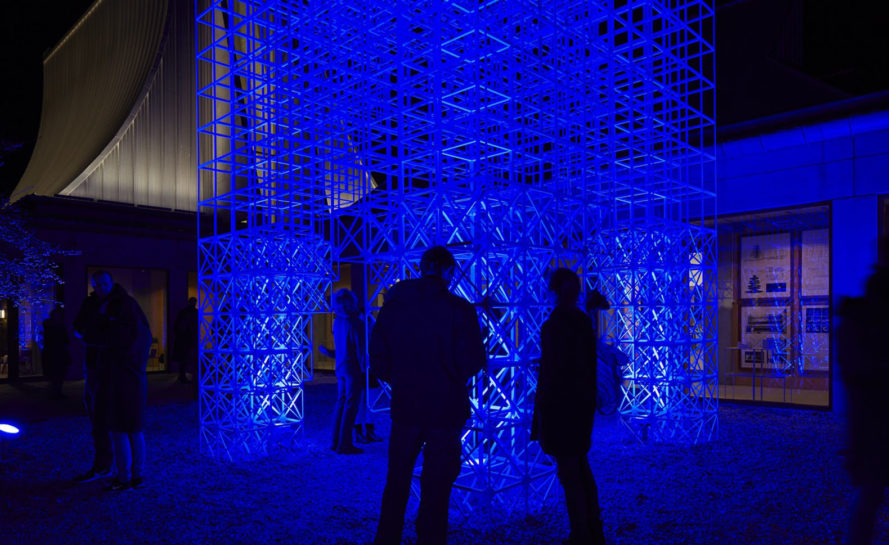 Skidmore, Owings and Merrill (SOM), Christmas tree, Utzon Center, temporary sculpture, temporary installation, lattice, courtyard, green architecture, Denmark