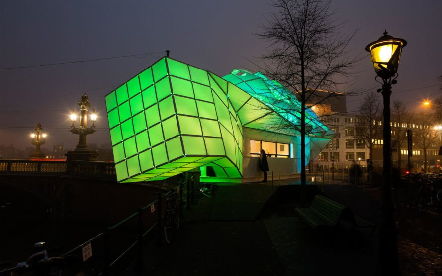 Eye_Beacon Pavilion, Amsterdam Light Festival Info Booth Pavilion, UNStudio, Amsterdam Light Festival, Amsterdam, bioluminescence, temporary pavilion, tensile materials, modules, green architecture, LED lights