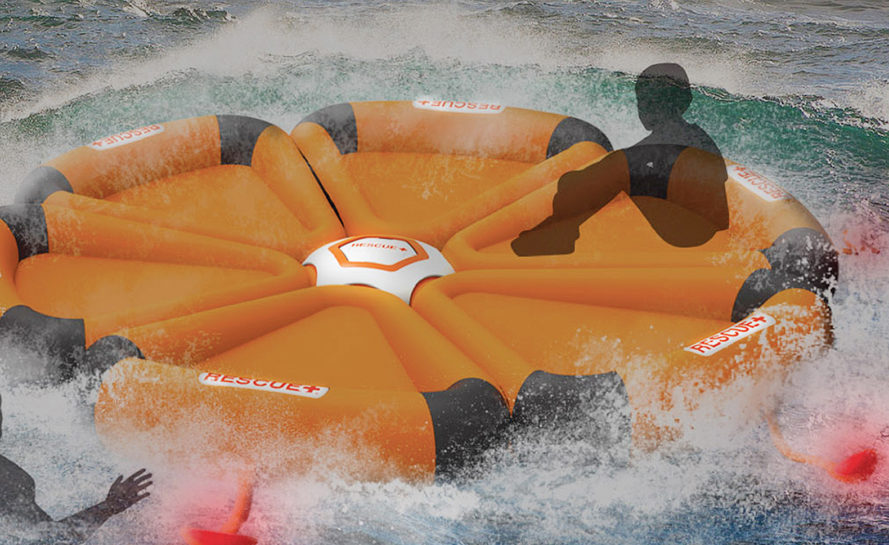 HEXA life raft, HEXA inflatable design, floatation device, Yoo JiIn, Lee Ji Sang, green design, transformable design, inflatable structures