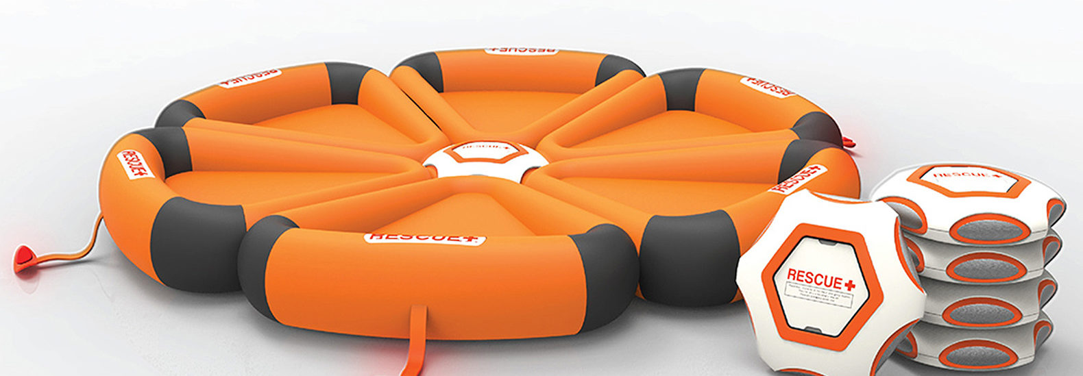 Self-inflating HEXA raft automatically deploys upon contact