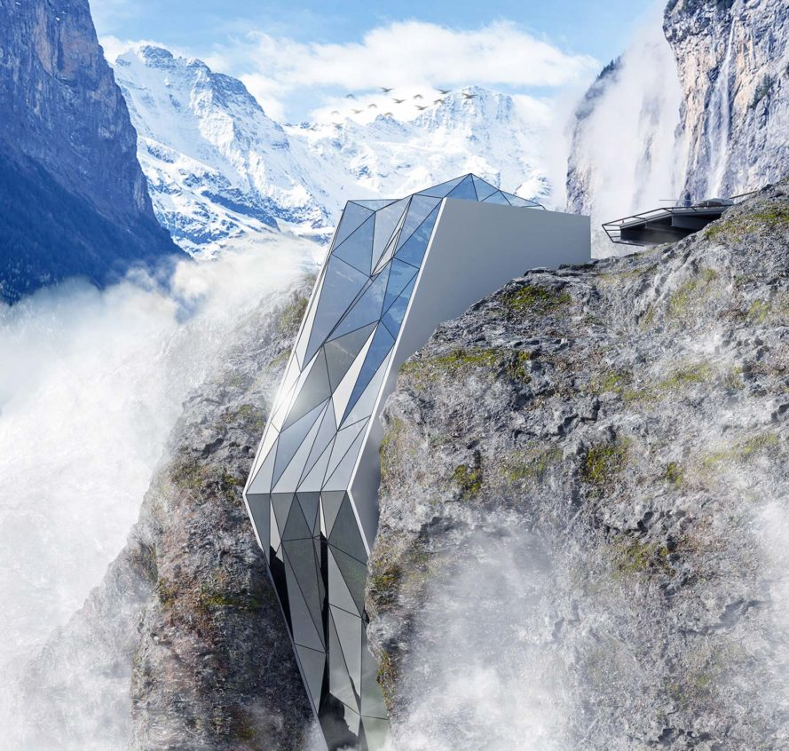 This crazy alpine hotel looks like its sliding off a for Design hotels alps