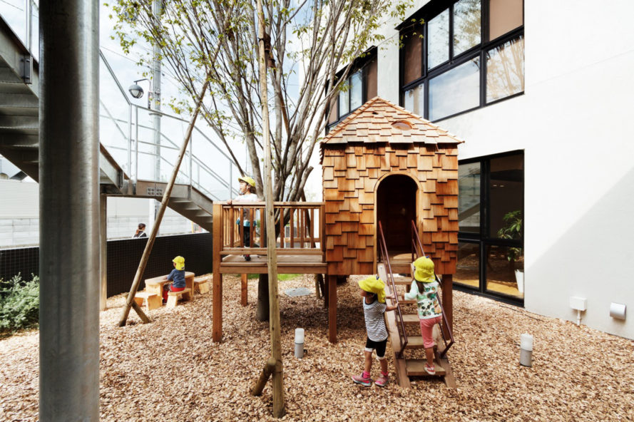 japan, kindergarten, school, Hibino Sekkei, Youji no Shiro, Osaka, KM Kindergarten, outdoor play, play areas, green courtyard, green space, daylight, indoor outdoor spaces, solar power, education, learning