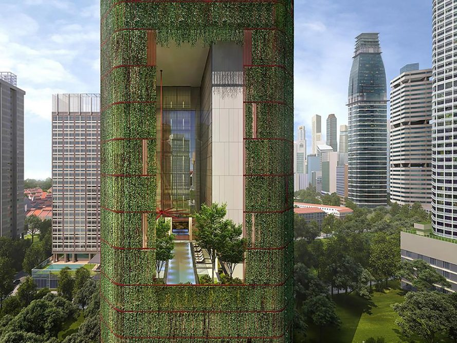 Oasia Hotel Downtown, Oasia Hotel Downtown by WOHA Architects, Oasia, WOHA, WOHA Architects, hotel, green hotel, Far East Hospitality, skyscraper, green skyscraper, tower, green tower, plants, greenery