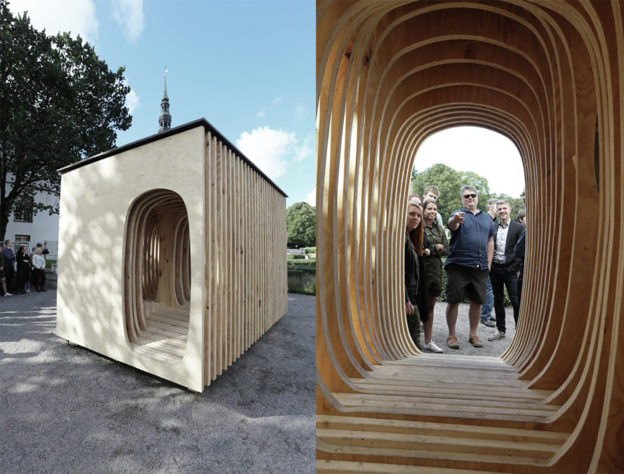 READER shelter in Estonia, READER by Estonian Academy of Arts, READER by Estonian architecture students, Estonian Academy of Arts architecture projects, Estonian Academy of Arts architecture student exhibit, plywood sheet architecture, pine plywood architecture, plywood reading nook