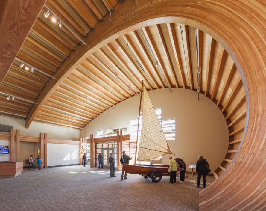 Thompson Exhibition Building by Centerbrook Architects, Thompson Exhibition Building at Mystic, Thompson Exhibition Building architecture, geothermal powered Thompson Exhibition Building, Mystic riverfront architecture, geothermal heated exhibition building, Douglas Fir glue laminated timber