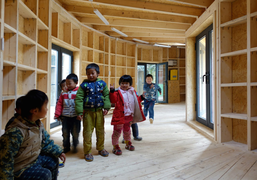 Tsiaogou reading room by SLOW Architects, SLOW Architects reading room, Tsiaogou library, library architecture for children, wooden reading room, fan-shaped architecture made from wood, low-tech Chinese timber architecture