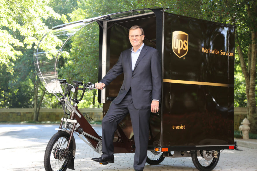 United Parcel Service, UPS, e-bike, e-bikes, e-bike delivery, e-bike deliveries, UPS e-bike, UPS e-bikes, Portland, Oregon, sustainability, David Abney