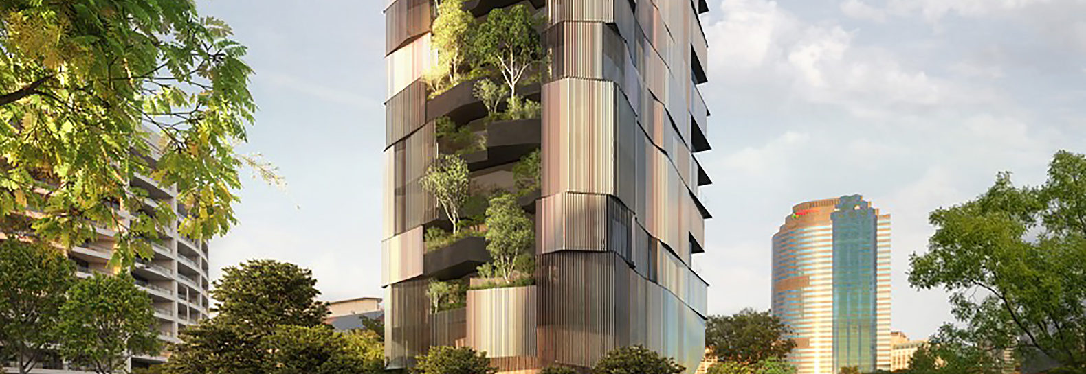 Apartment Building Exterior 14-story apartment building in brisbane has a vertical forest