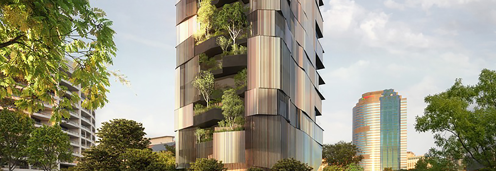 14-story apartment building in Brisbane has a vertical forest growing up its exterior
