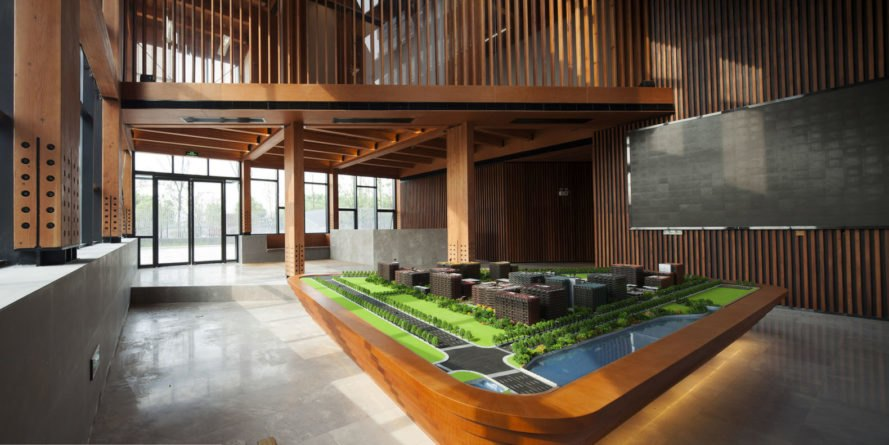 FMD Architects, Wood Pavilion, Shanghai, wooden showroom, showroom, sloping roof, skylights, green architecture, timber structure, concrete, steel