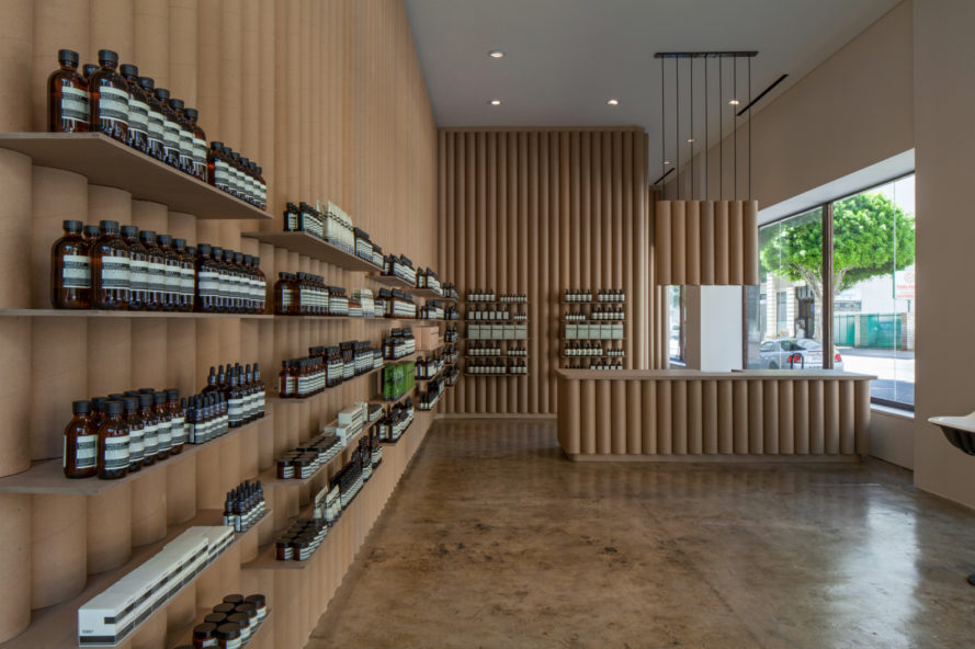 Brooks + Scarpa, Aesop DTLA, sustainable retail projects, retail LA, paper display shelving, recycled cardboard tubes, cardboard constructuion, cardboard building material, green building, sustainable building, vintage sinks, repurposed materials, cardboard countertops, green materials, recycled paper