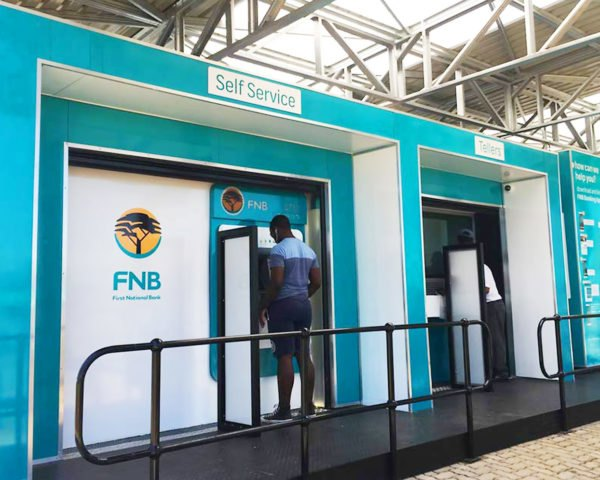 BANK IN A CAN, A4AC, FNB mobile banking solution, prefab mobile bank, banking solution for rural areas