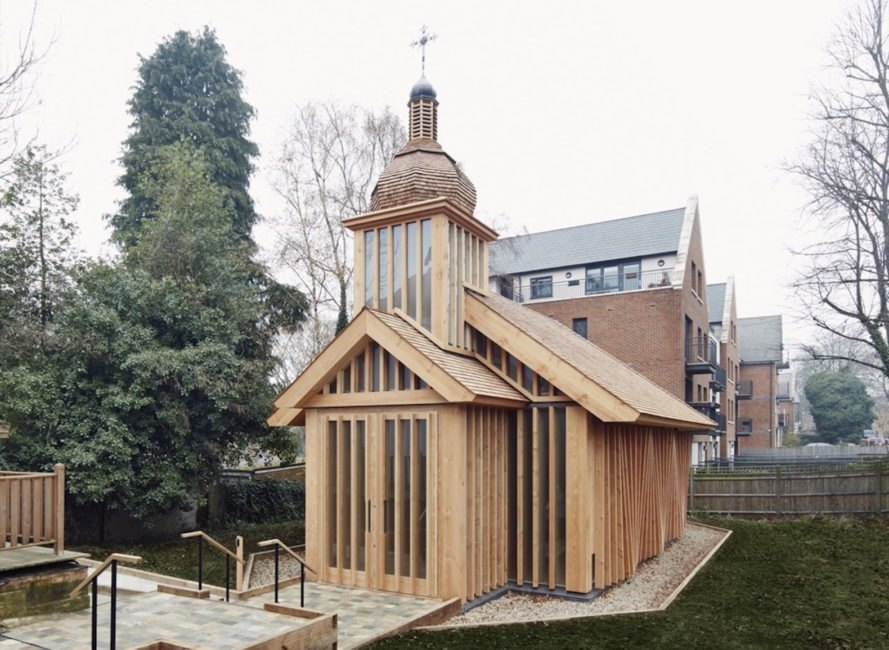 Belarusian Memorial Chapel by Spheron Architects, Marian House chapel, Belarusian Memorial Chapel in London, Belarusian Memorial Chapel at Marian House, timber chapel, Belarus timber churches, Belarus Chernobyl memorial architecture