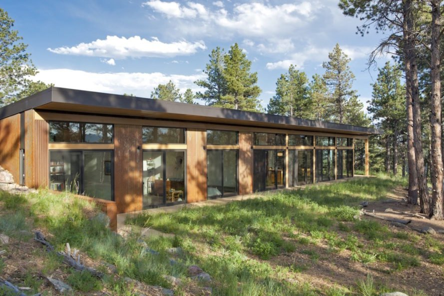 Boulder Cabin by Dynia Architects, contemporary boulder cabin, cabin with views of Flatiron, cabin with minimal site impact, minimize energy use cabin, weathered steel cladding, site specific cabin design, modern cabin design, contemporary timber cabin, steel clad cabin